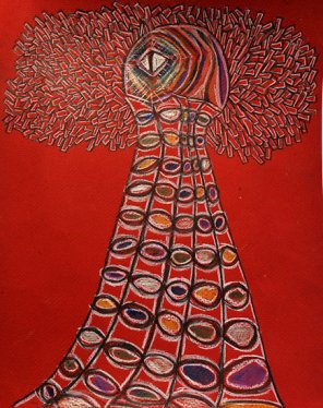 Living Beacon 16X20 colored pecils on red paper 2009